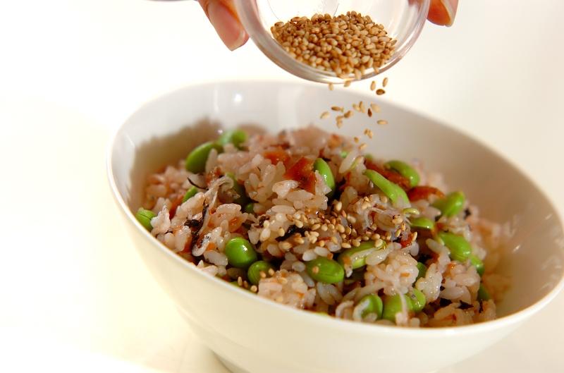 枝豆の梅ジャコごはんの作り方の手順3