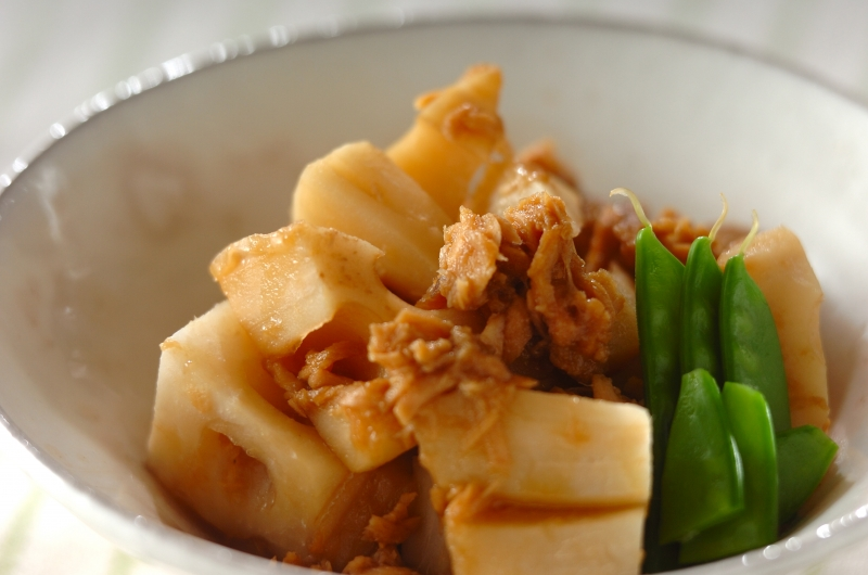 レンコンとツナの煮物の作り方の手順