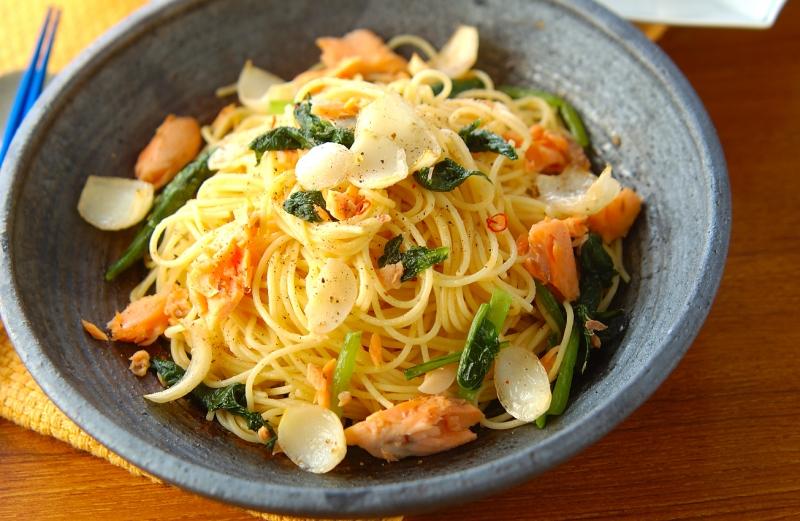 甘塩鮭のスパゲティ